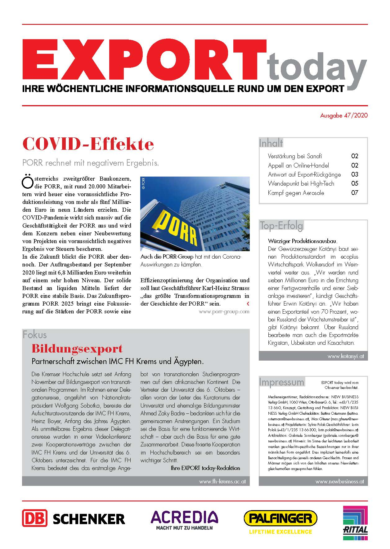 Cover: EXPORT today online - 47/2020